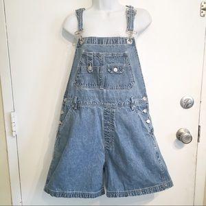 Vintage 90s Denim Jean Overall Shorts Shortalls